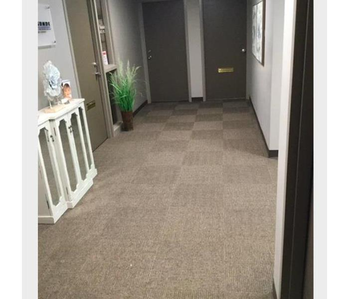 water removed from carpet in commercial building