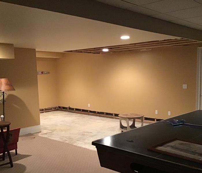 ceiling and flooring removed in basement after water damage