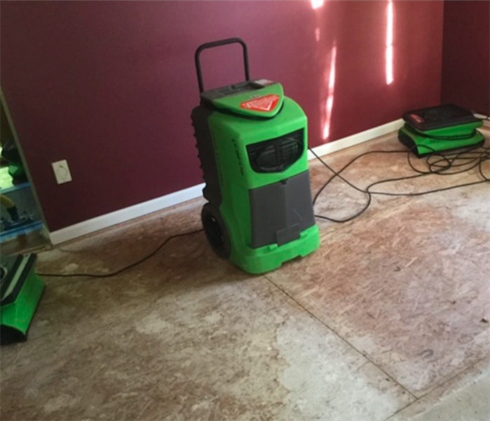 carpet removed and equipment set after water damage