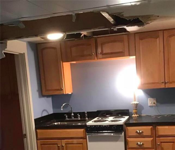 ceiling collapsed from water damage